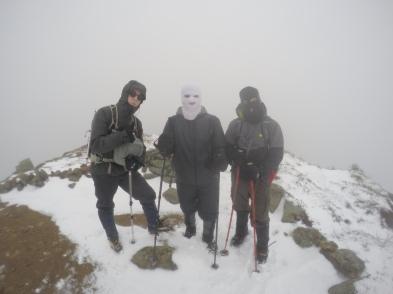 De la gauche vers la droite, Mathieu, Jonathan et Alain. Sur le sommet au tout près de Lincoln Crédit: Philippe Comeau