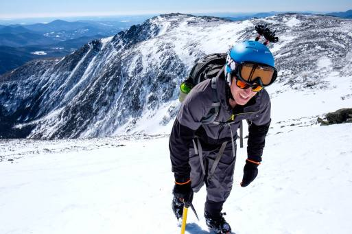 Alain en pleine ascension du Mont Washington.