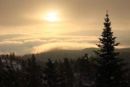 Lever de soleil au sommet du Mont Caribou