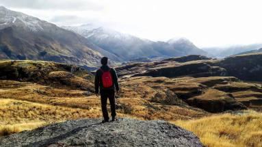 Yannick dans les Rocky mountains de Wanaka