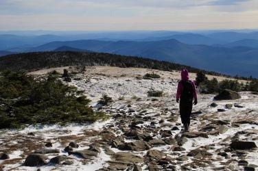 La descente via la « George Brook Trail » sur le sommet Est.