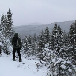Mathieu Grenier qui contemple les montagnes au loin Crédit Photo : Alain Côté